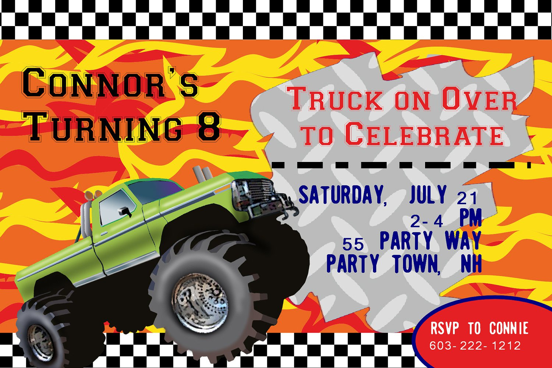 Monster Truck Birthday Invitation Templates