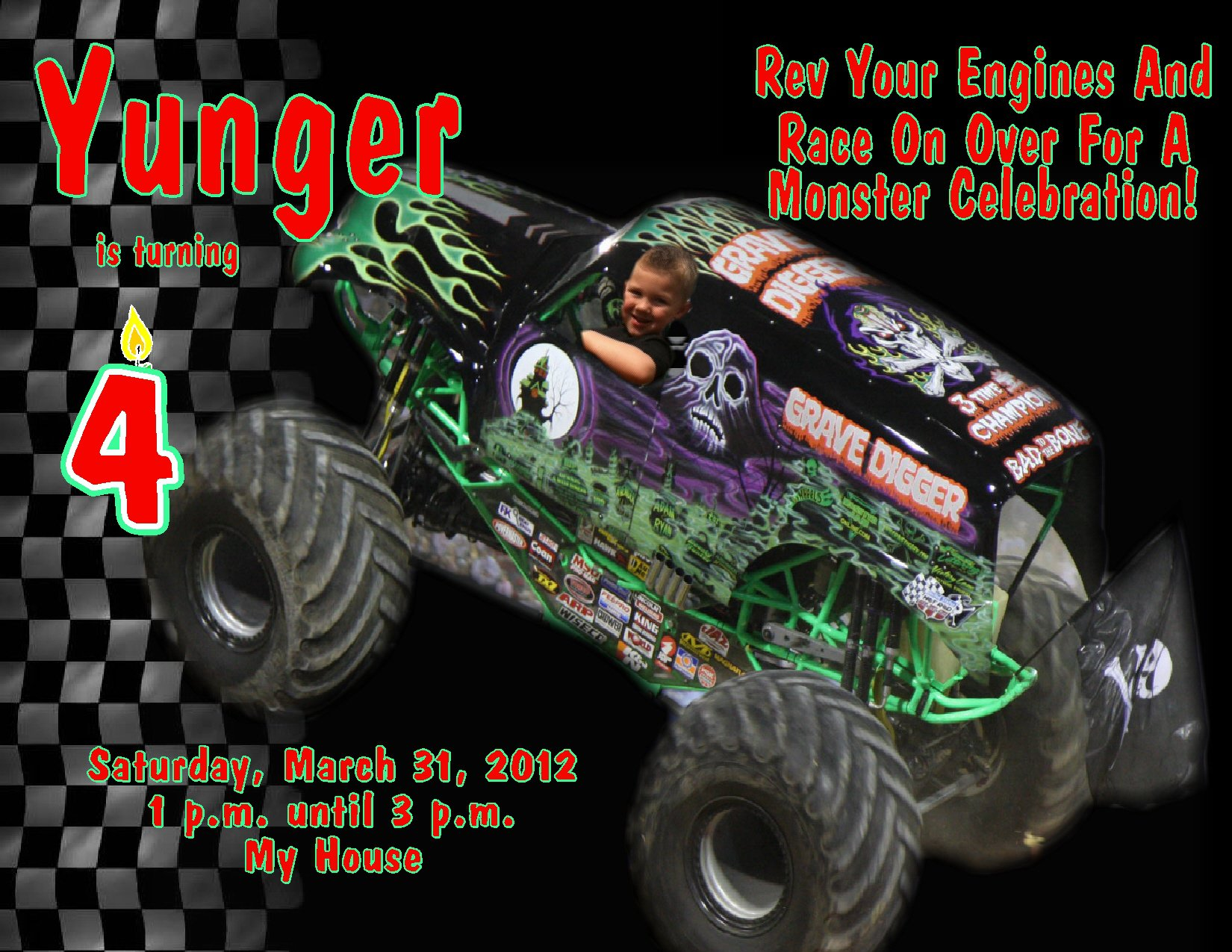 Monster Truck Invitation Templates