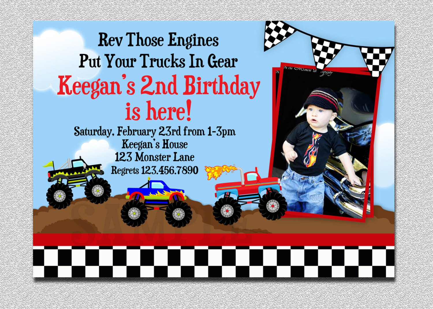 Monster Truck Party Invitation Template