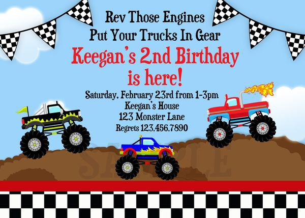 Monster Truck Party Invitations Printable