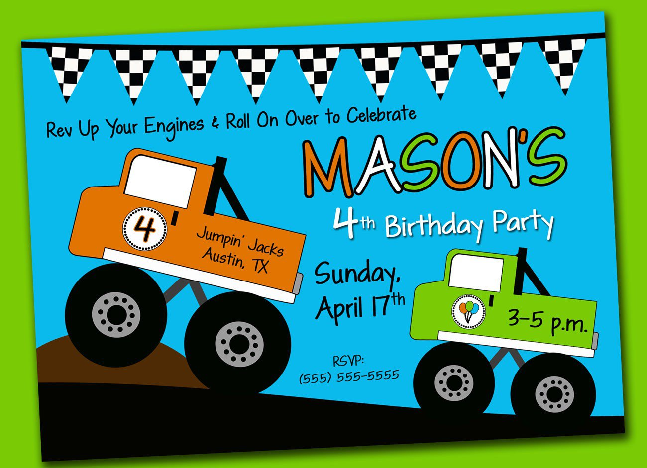 Monster Truck Party Invitations Templates