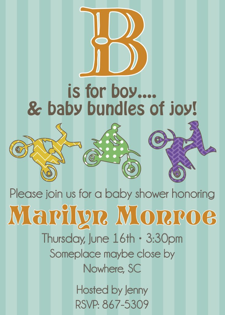 Motocross Baby Shower Invitations