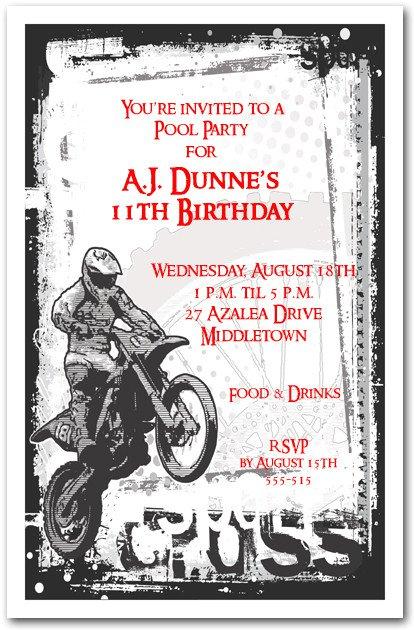 Motocross Birthday Party Invitations