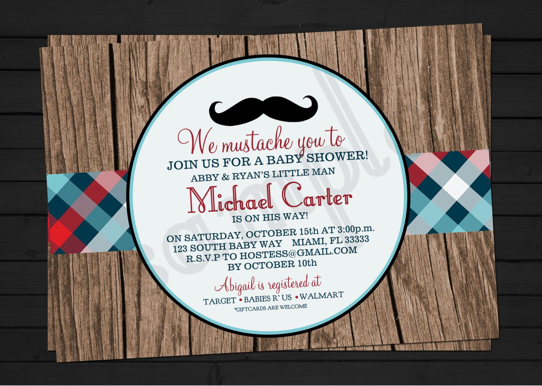 Mustache Baby Shower Invitations