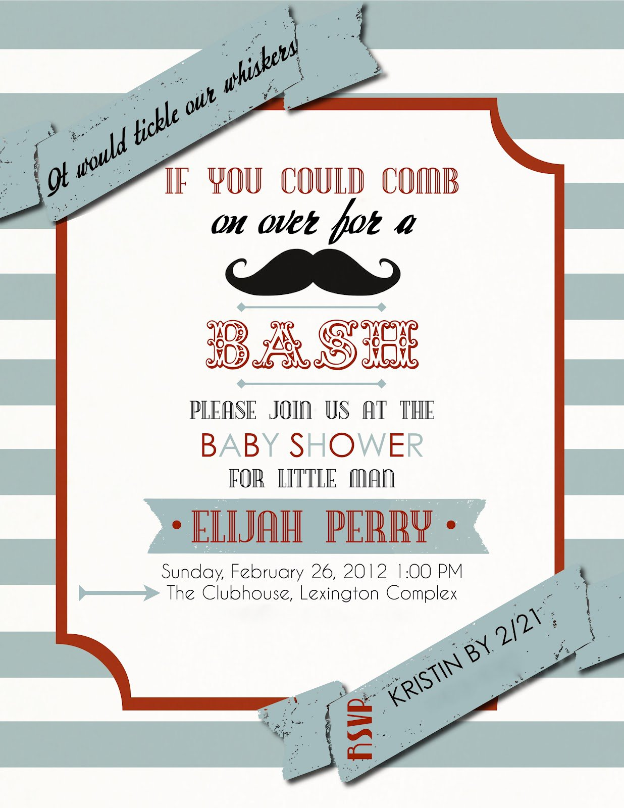Mustache Baby Shower Invitations Free Templates