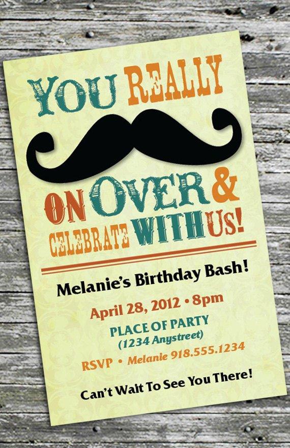 Mustache Bash Invitations
