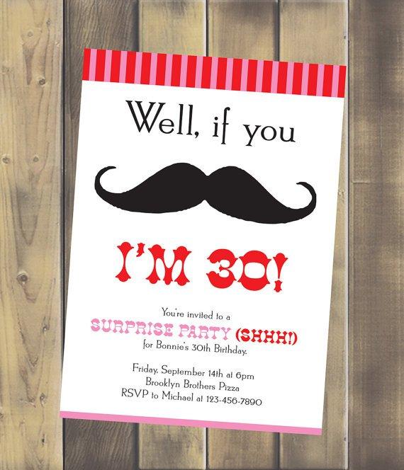 Mustache Birthday Party Invitations