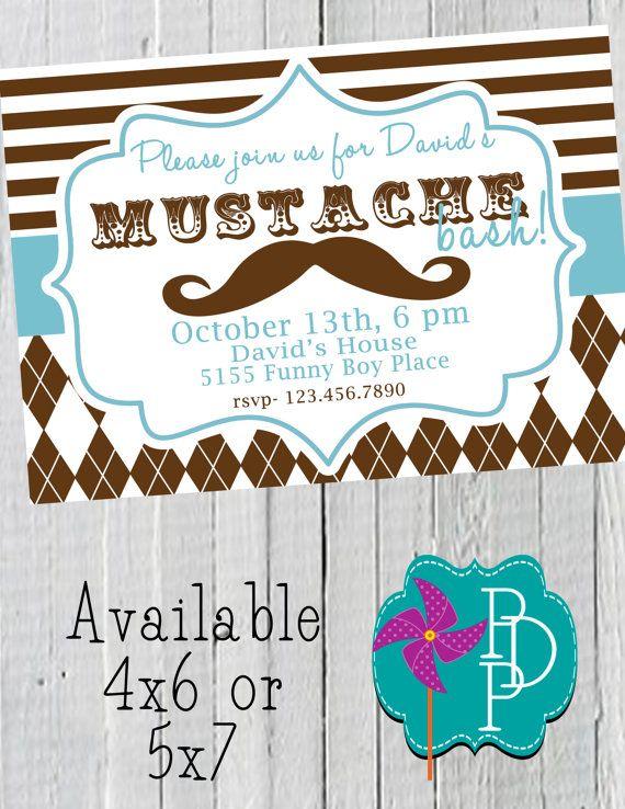 Mustache First Birthday Invitations