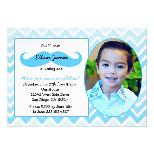 Mustache First Birthday Party Invitations