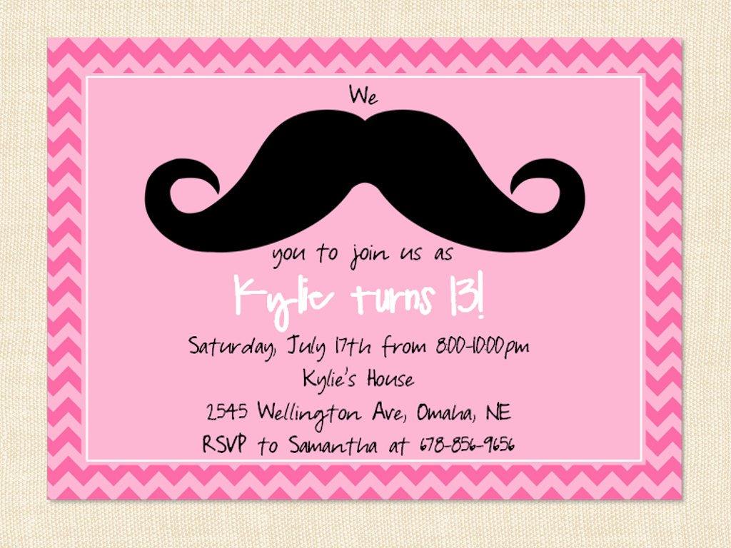 Mustache Invitation Wording