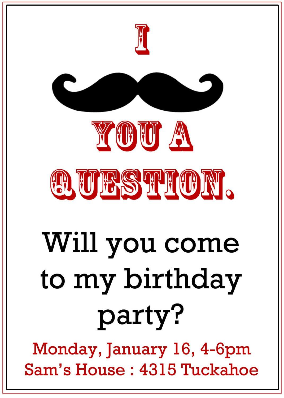 Mustache Invitations For Boys