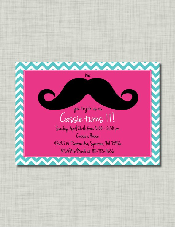 mustache party invitations for girls - Mustache Party Invitations
