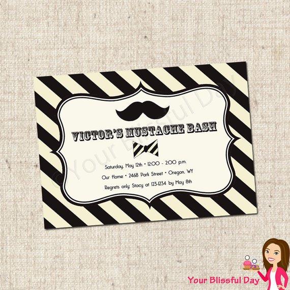 Mustache Printable Invitations