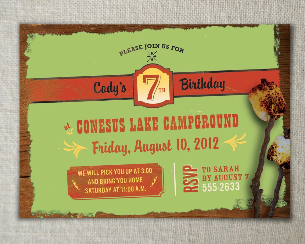 Nature Birthday Party Invitations – Camping Birthday Invitations