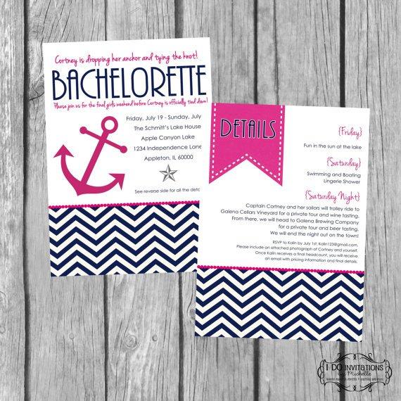 Nautical Bachelorette Invitation Wording