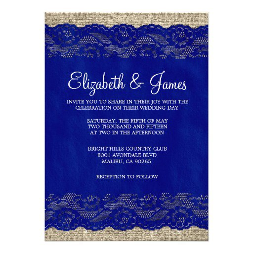 Navy Blue And White Lace Wedding Invitations