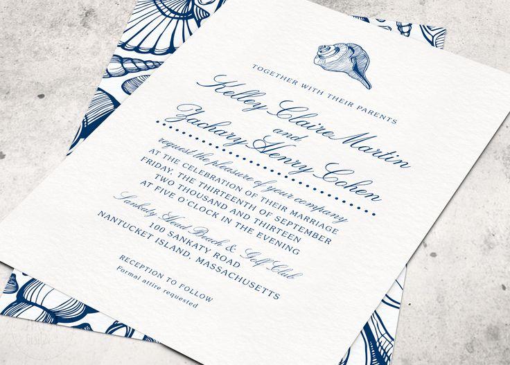 Navy Blue Beach Wedding Invitations