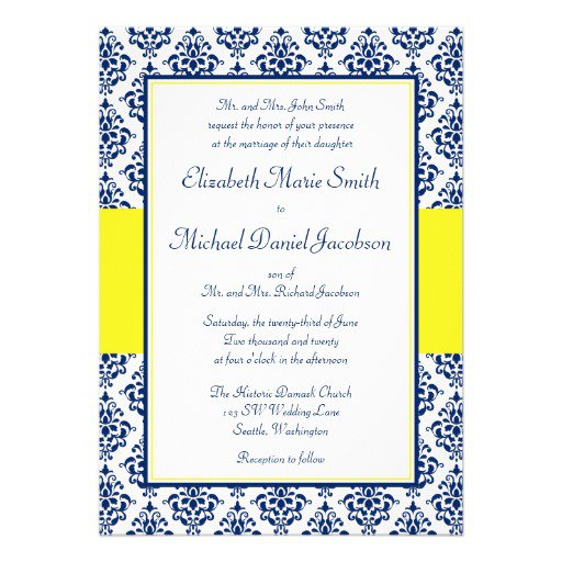 Navy Blue Damask Wedding Invitations