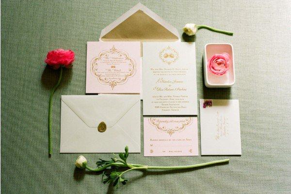 Navy Blush Gold Wedding Invitations