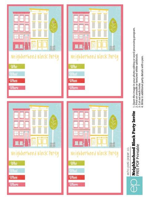 Neighborhood Block Party Invitation Ideas