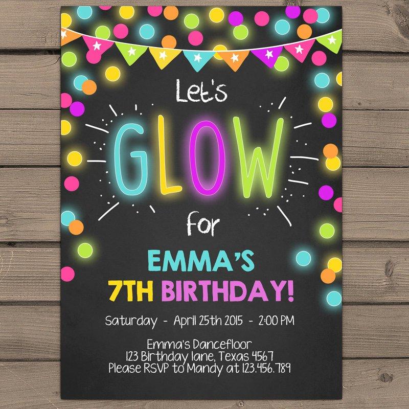 Neon Birthday Party Invitations