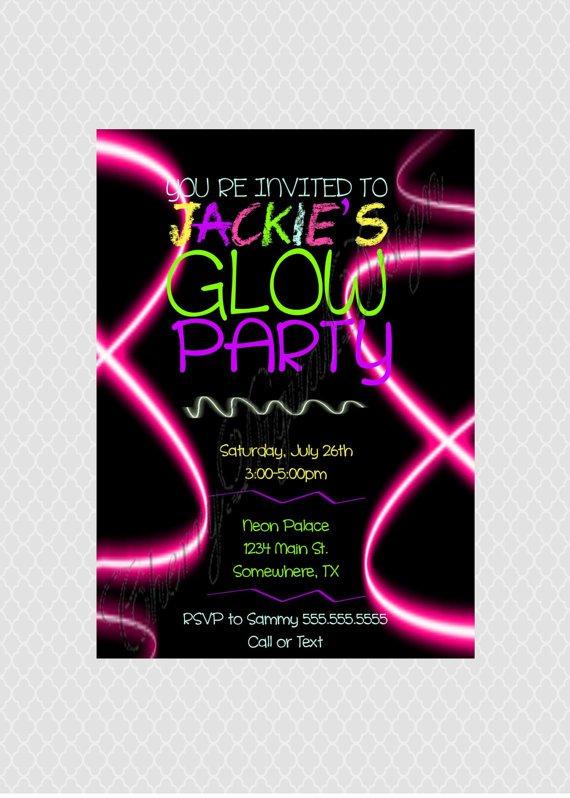Neon Print Invitations