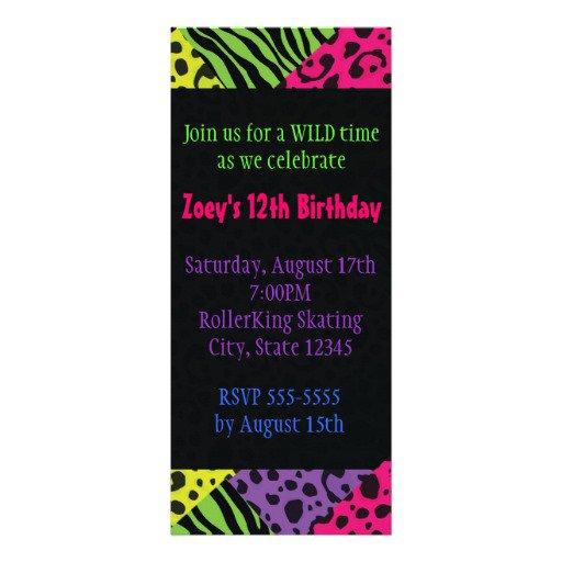 Neon Zebra Print Invitations