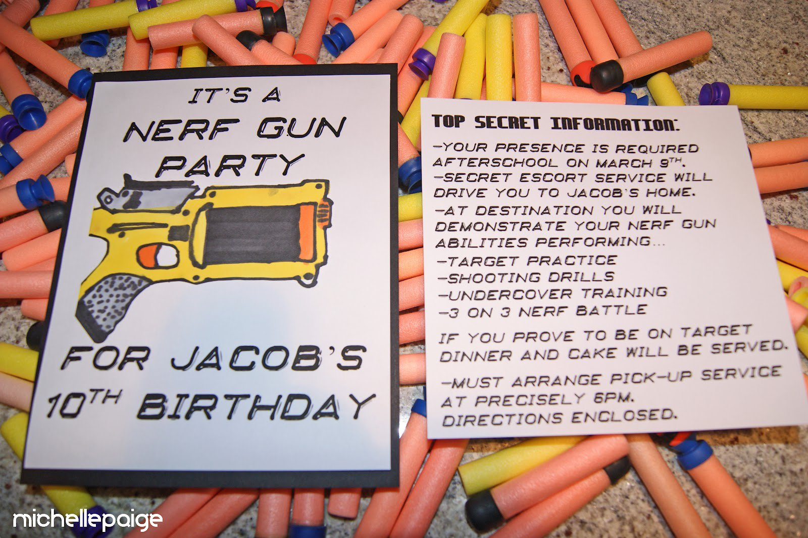 Nerf Birthday Party Invitation Ideas