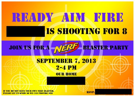 Nerf Gun Birthday Party Invitations Printable