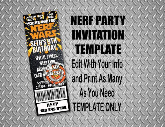 Nerf Gun Invitation Templates