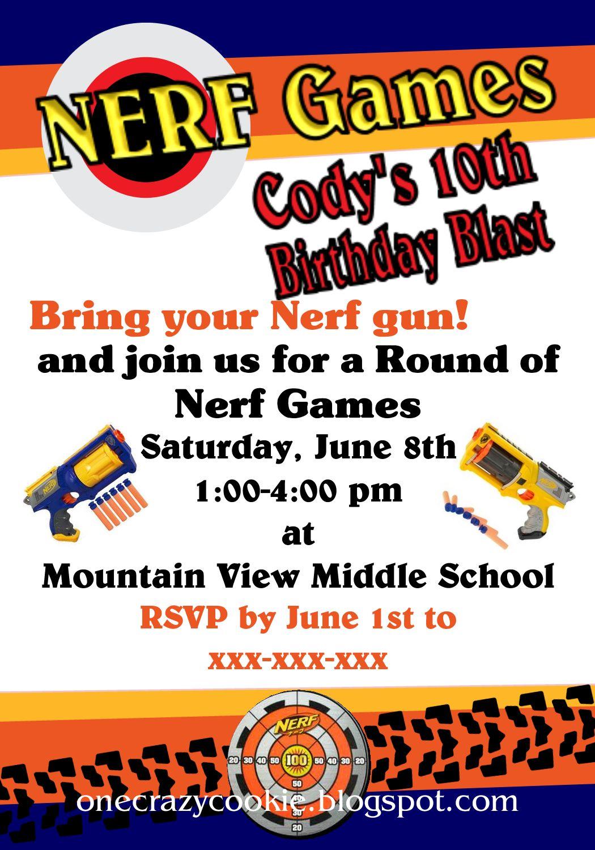 Nerf Gun Party Invitations Printable Free