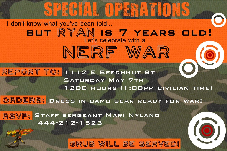 Nerf War Invitation Template