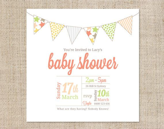 Neutral Baby Shower Invitations Templates Editable