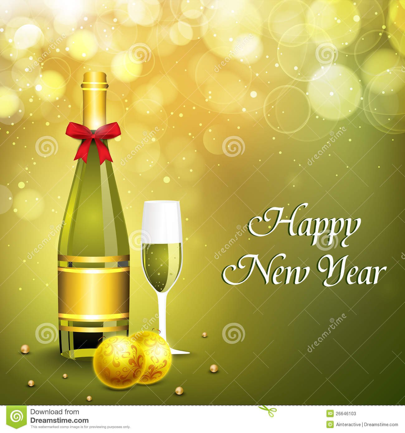 New Year Champagne Background Invitations