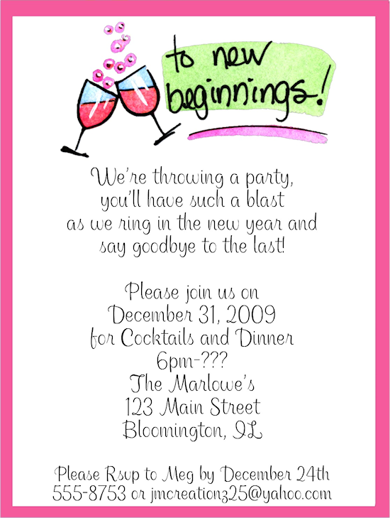 New Year S Eve Party Invitations Wording – New Year Invitation Template