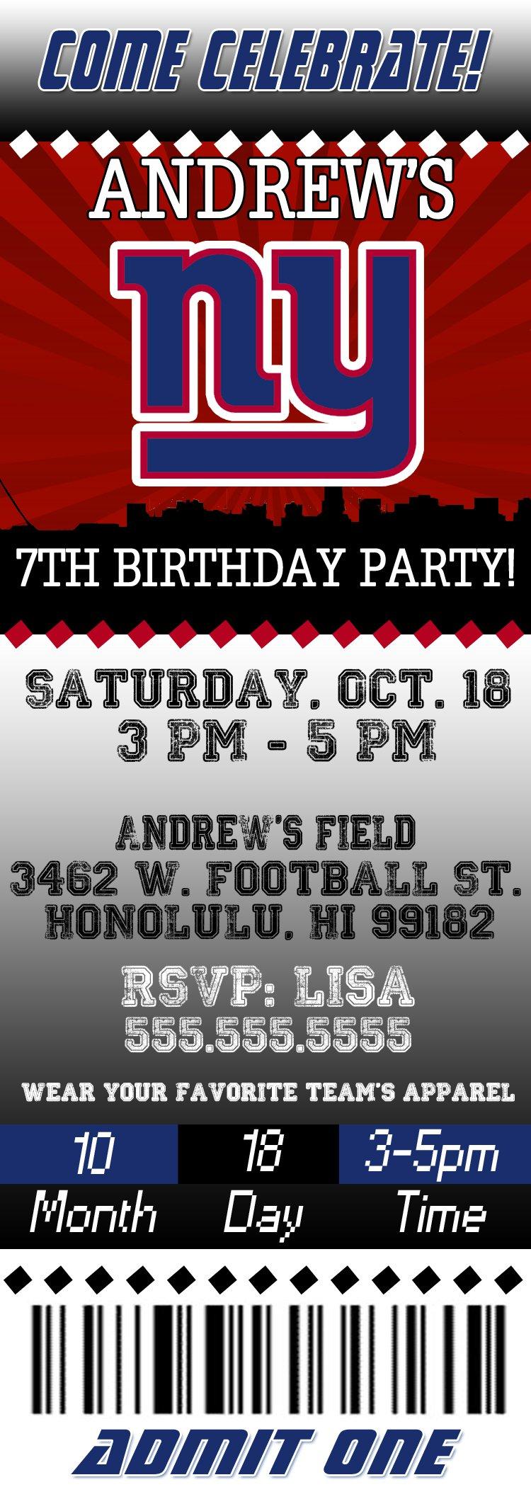Nfl Ticket Birthday Invitations