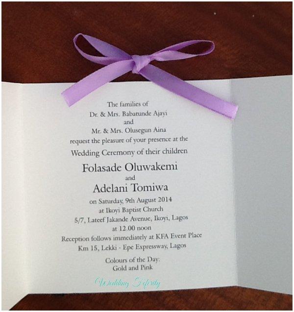 Nigerian Wedding Menu: Nigerian Wedding Invitations