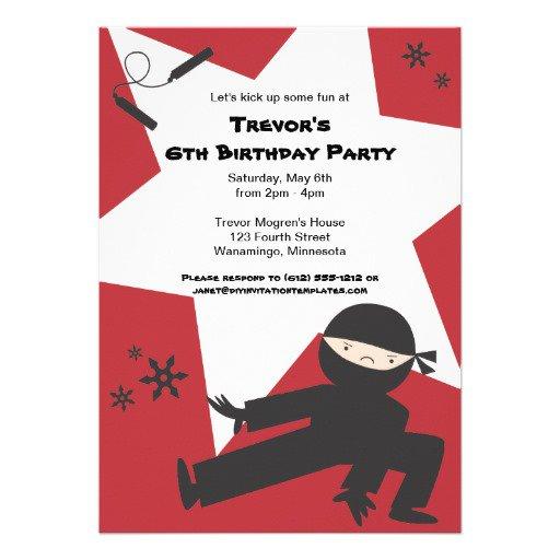 Ninja Birthday Invitations Nz