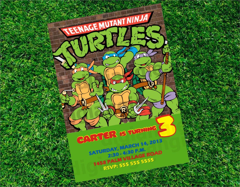 Ninja Turtle Birthday Party Invitation Wording