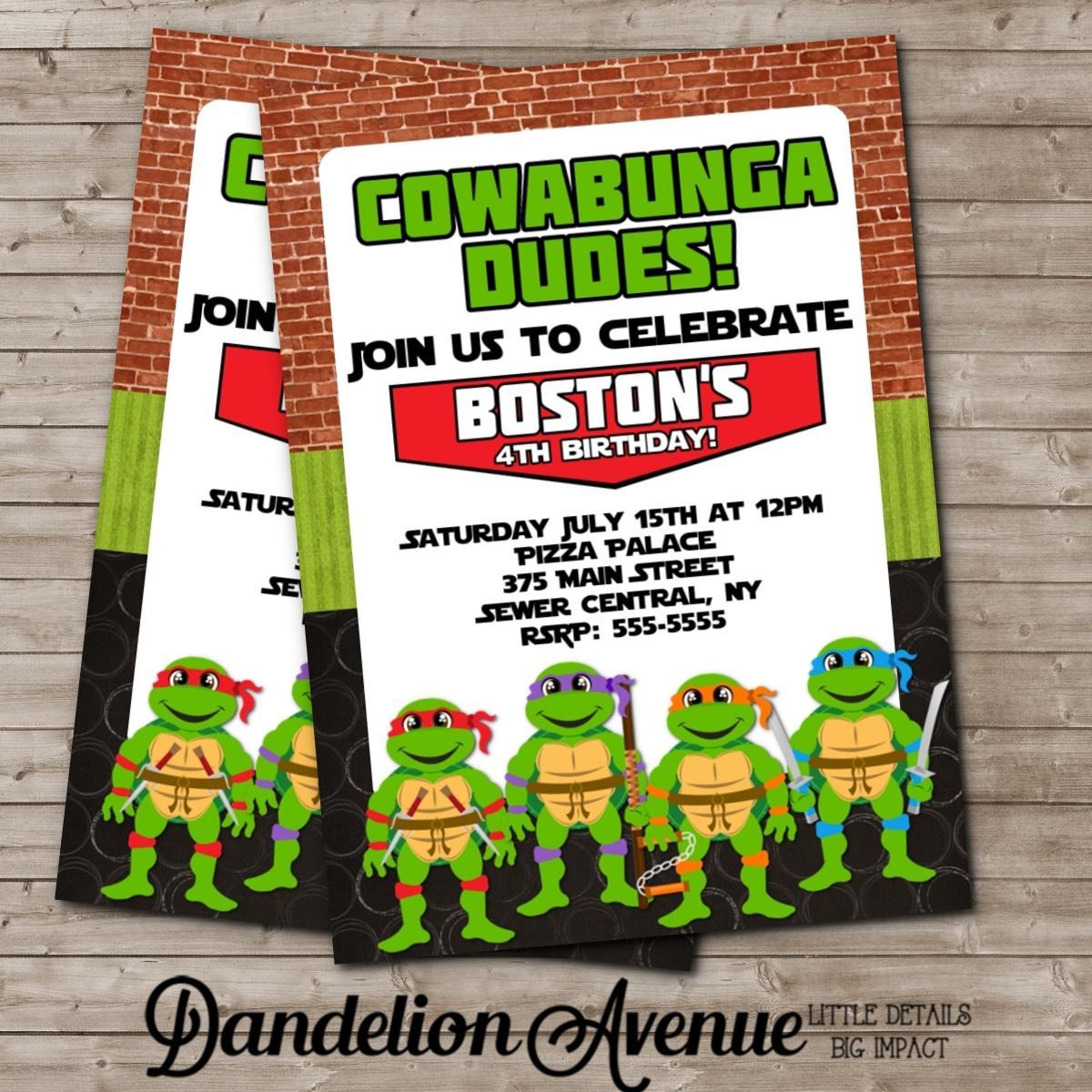 Ninja Turtle Birthday Party Invitations Printable