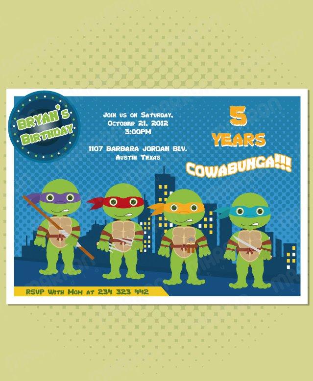 Ninja Turtle Birthday Party Invitations Printable Free