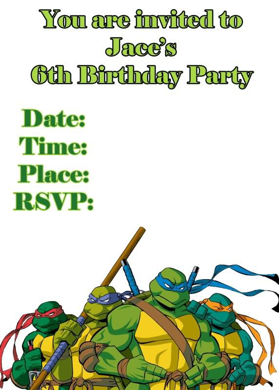 ninja turtle invitation templates jpg