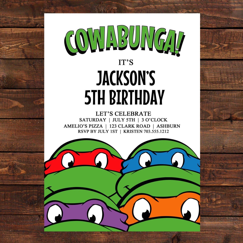 Ninja Turtle Party Invitation Template Free