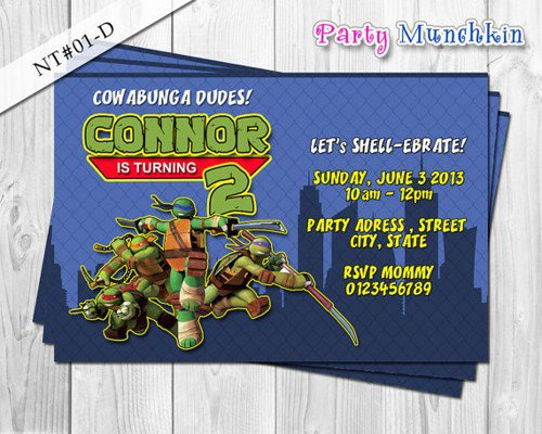 Ninja Turtle Party Invitations Australia