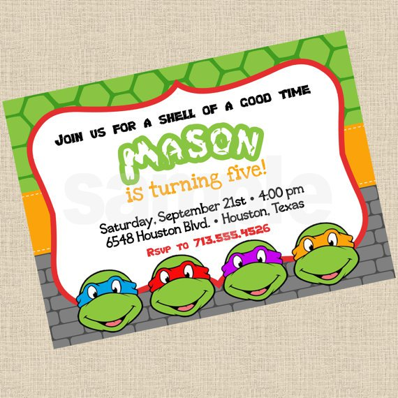 Ninja Turtle Party Invitations Printable