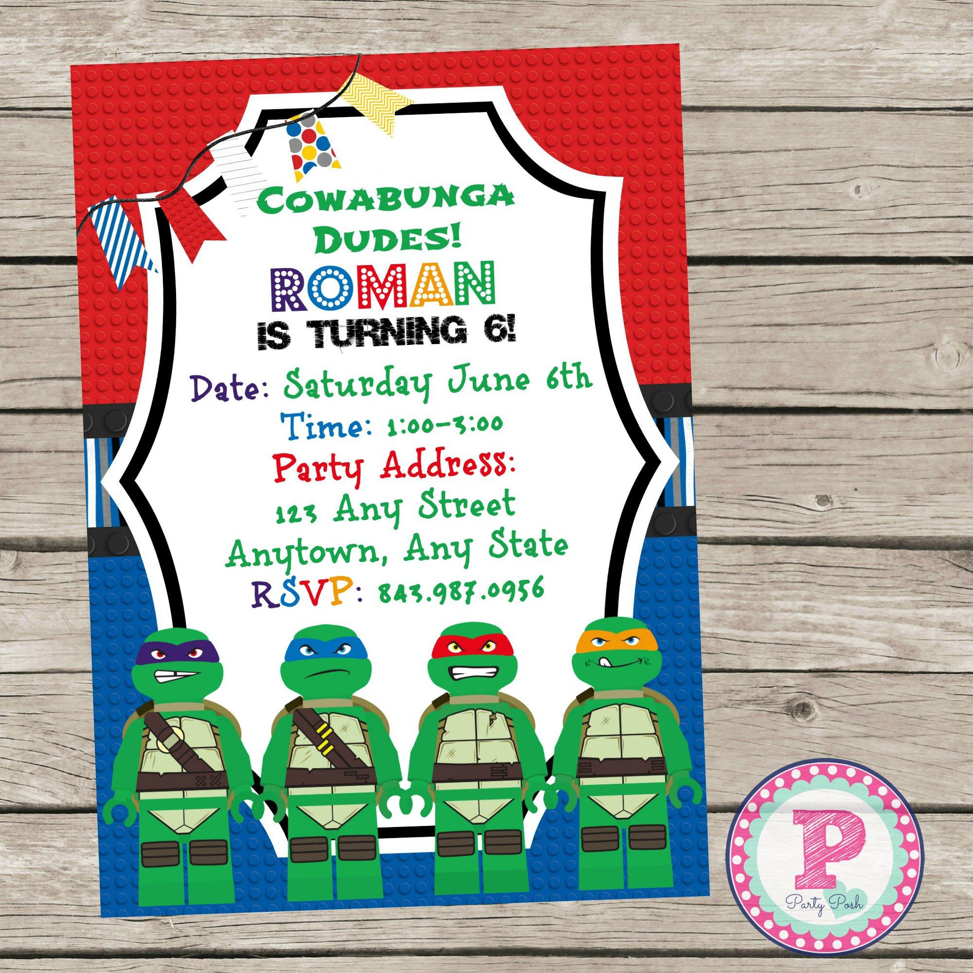 Ninja Turtle Printable Invitations