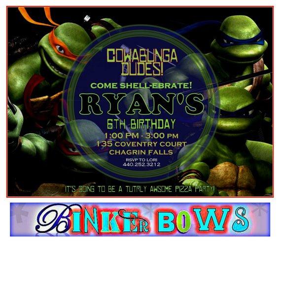 Ninja Turtles Birthday Party Invitation Templates
