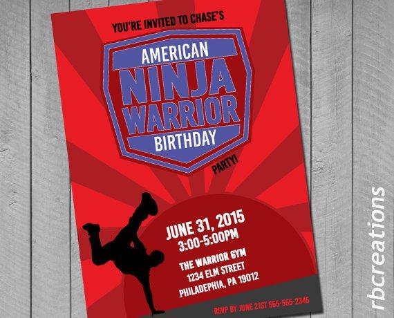 Ninja Warrior Birthday Party Invitations
