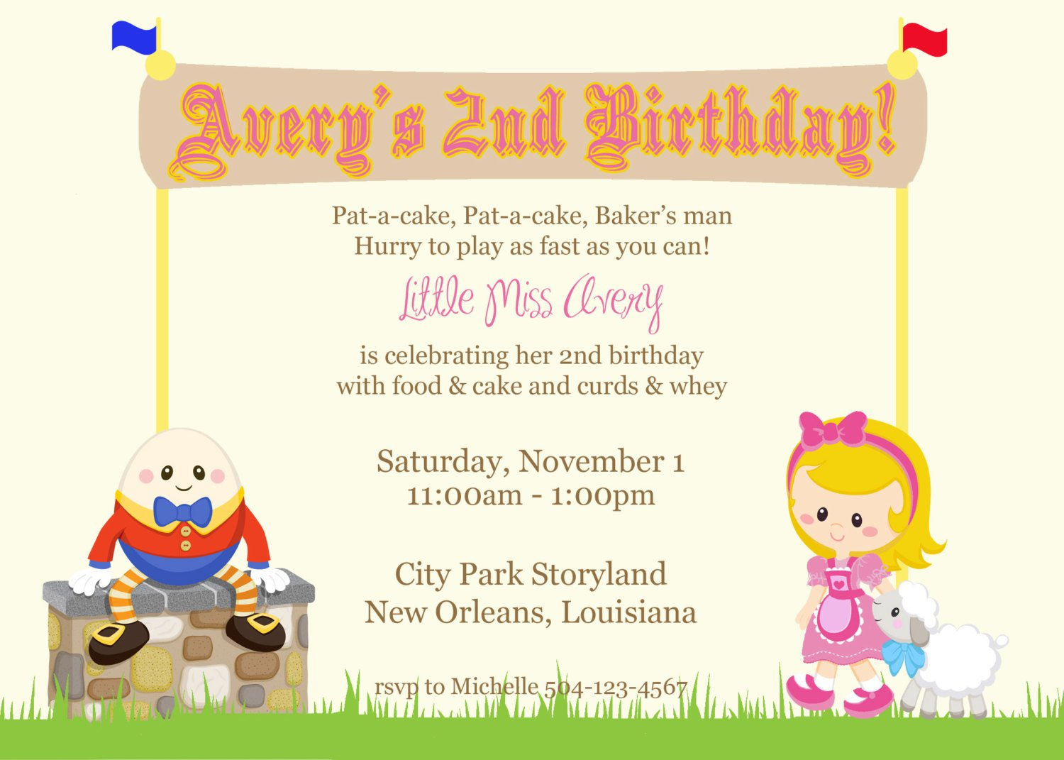 Nursery Rhyme Invitations Birthday