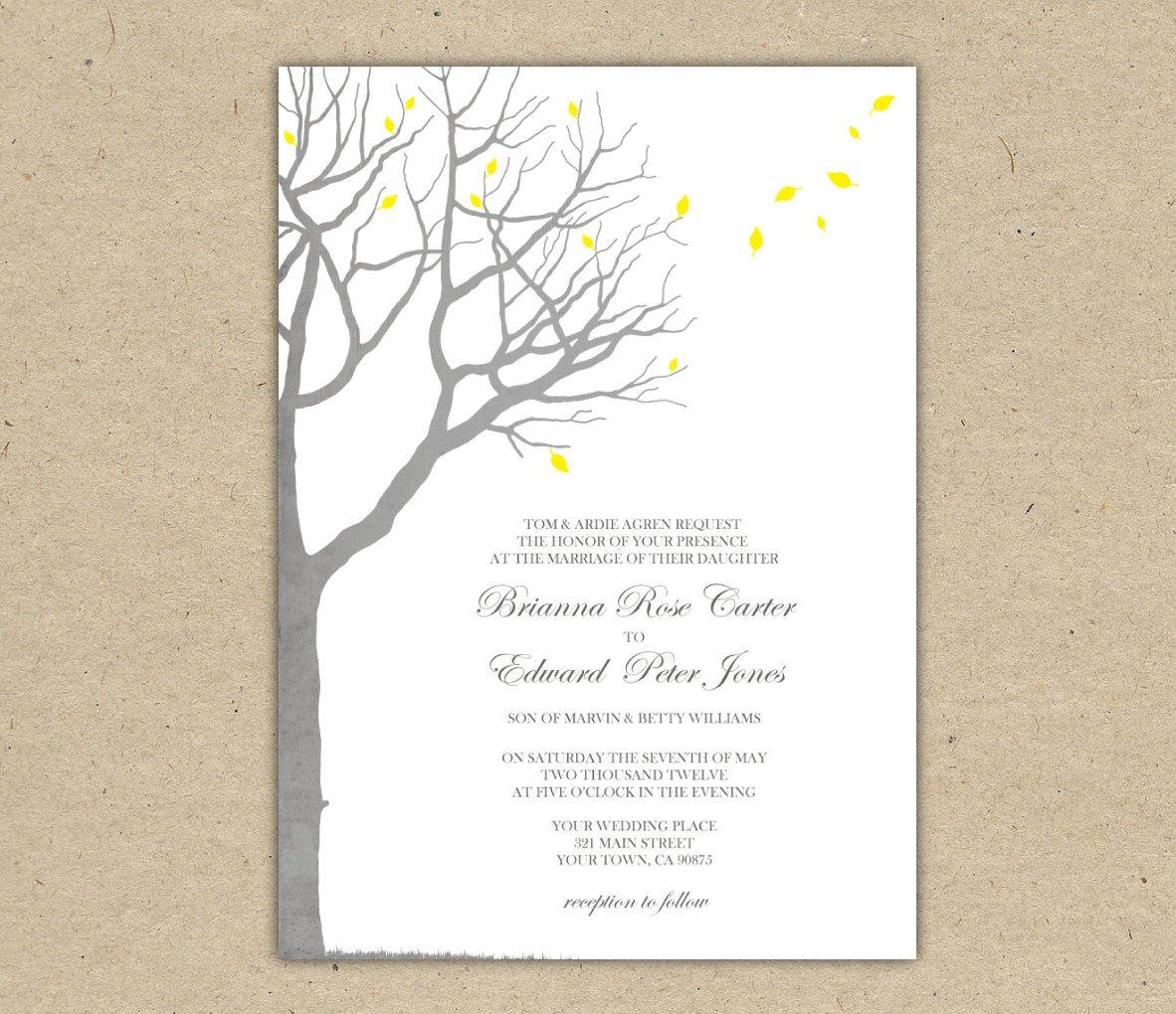 Oak Tree Wedding Invitation Templates